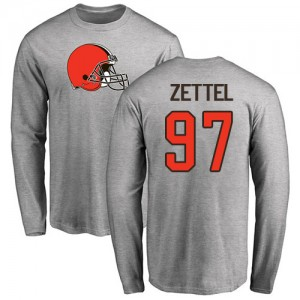 Anthony Zettel Ash Name & Number Logo - #97 Football Cleveland Browns Long Sleeve T-Shirt