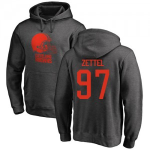 Anthony Zettel Ash One Color - #97 Football Cleveland Browns Pullover Hoodie