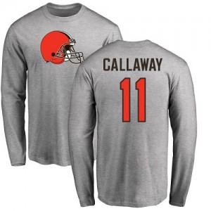 Antonio Callaway Ash Name & Number Logo - #11 Football Cleveland Browns Long Sleeve T-Shirt