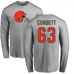 Austin Corbett Ash Name & Number Logo - #63 Football Cleveland Browns Long Sleeve T-Shirt