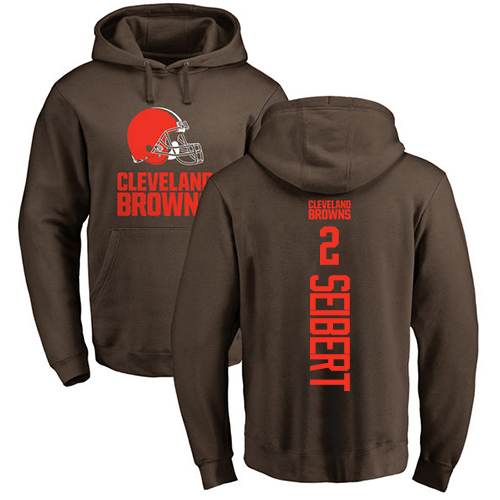 Austin Seibert Brown Backer - #2 Football Cleveland Browns Pullover Hoodie