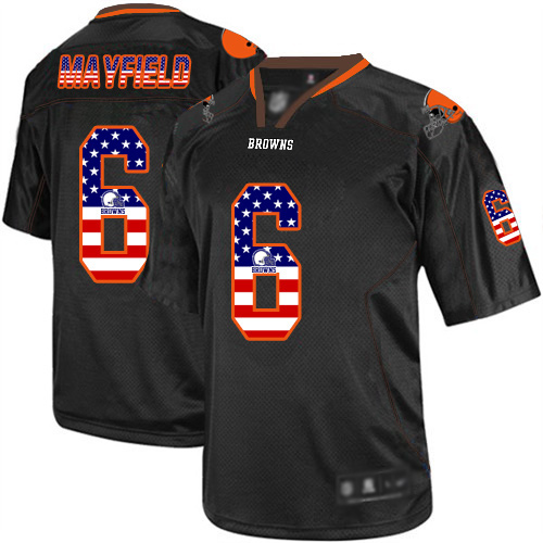 Elite Men's Baker Mayfield Black Jersey - #6 Football Cleveland Browns USA Flag Fashion