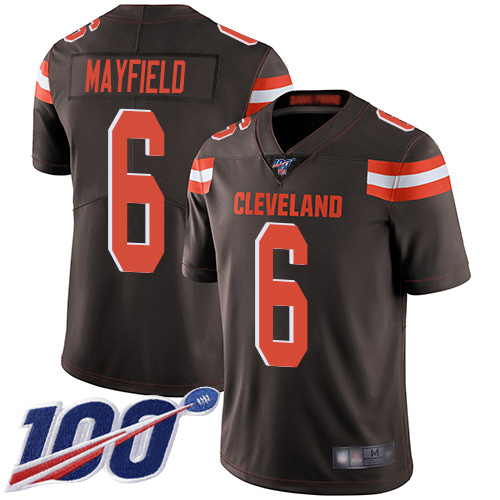 Limited Men's Baker Mayfield Brown Home Jersey - #6 Football Cleveland Browns 100th Season Vapor Untouchable
