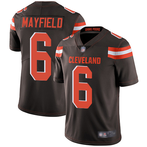 Limited Men's Baker Mayfield Brown Home Jersey - #6 Football Cleveland Browns Vapor Untouchable