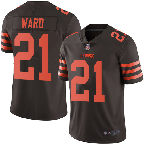 Limited Men's Denzel Ward Brown Jersey - #21 Football Cleveland Browns Rush Vapor Untouchable
