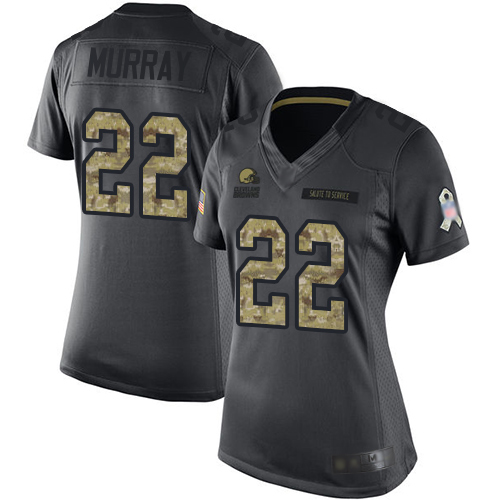 Limited Women's Eric Murray Black Jersey - #22 Football Cleveland Browns 2016 Salute to Service