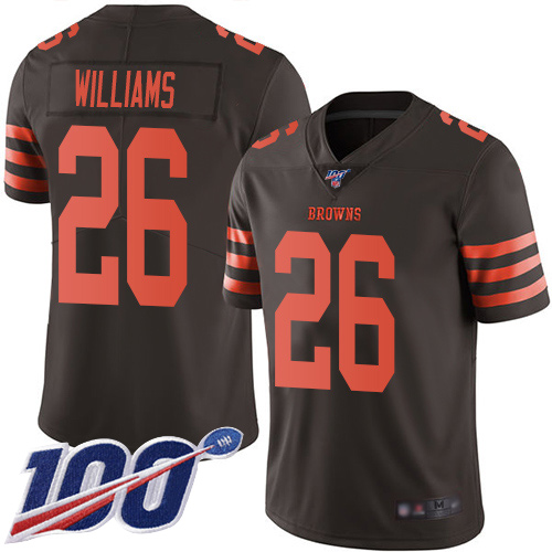 Limited Men's Greedy Williams Brown Jersey - #26 Football Cleveland Browns 100th Season Rush Vapor Untouchable