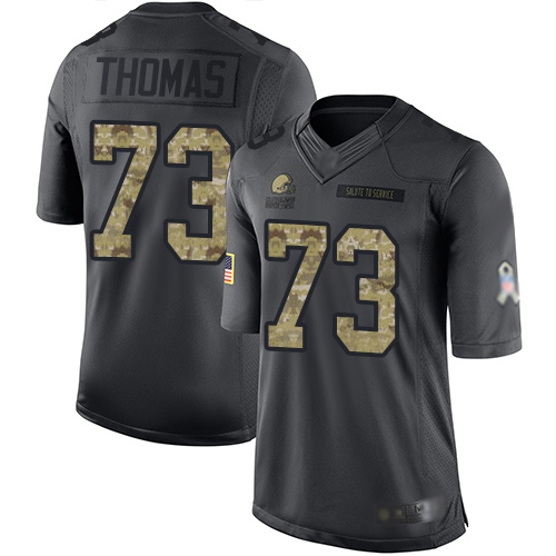 Limited Men's Joe Thomas Black Jersey - #73 Football Cleveland Browns 2016 Salute to Service