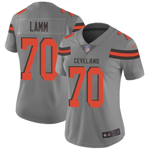 Limited Women's Kendall Lamm Gray Jersey - #70 Football Cleveland Browns Inverted Legend