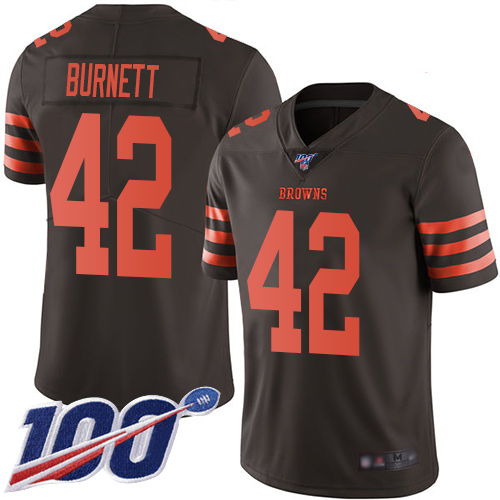 Limited Men's Morgan Burnett Brown Jersey - #42 Football Cleveland Browns 100th Season Rush Vapor Untouchable