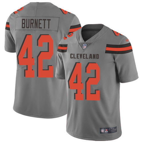 Limited Men's Morgan Burnett Gray Jersey - #42 Football Cleveland Browns Inverted Legend