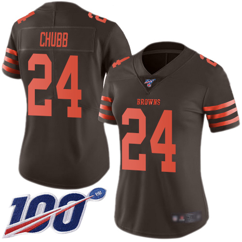 Limited Women's Nick Chubb Brown Jersey - #24 Football Cleveland Browns 100th Season Rush Vapor Untouchable