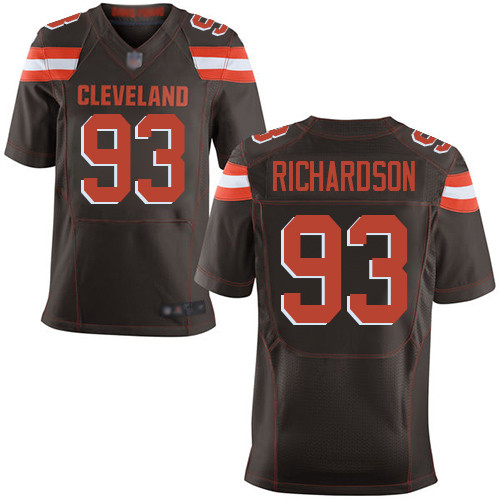 Elite Men's Sheldon Richardson Brown Home Jersey - #98 Football Cleveland Browns