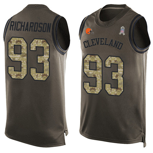 Limited Men's Sheldon Richardson Green Jersey - #98 Football Cleveland Browns Salute to Service Tank Top