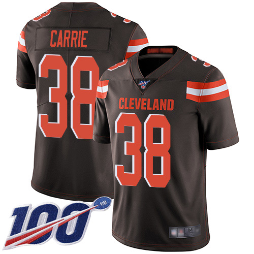 Limited Men's T. J. Carrie Brown Home Jersey - #38 Football Cleveland Browns 100th Season Vapor Untouchable