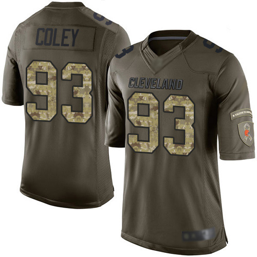Elite Men's Trevon Coley Green Jersey - #93 Football Cleveland Browns Salute to Service
